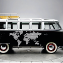 Vinilo furgoneta camper. Mapa mundi lineas